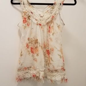 Cream & Orange floral Tank Top with Lace & Fringe